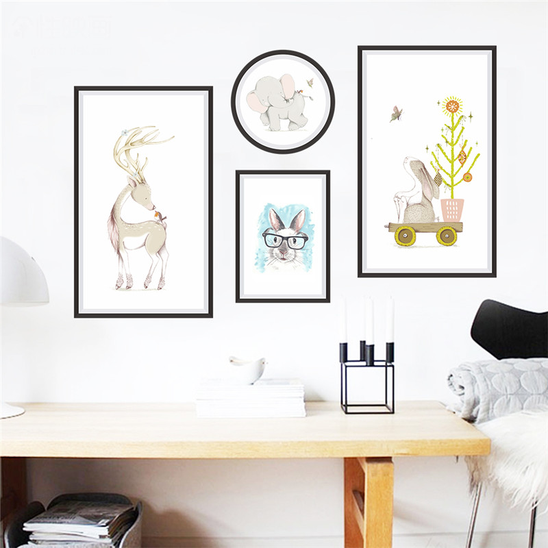 Photo Frame Animals Elephant Deer Rabbit wall stickers for kids rooms children nursery wall decals poster home office decor