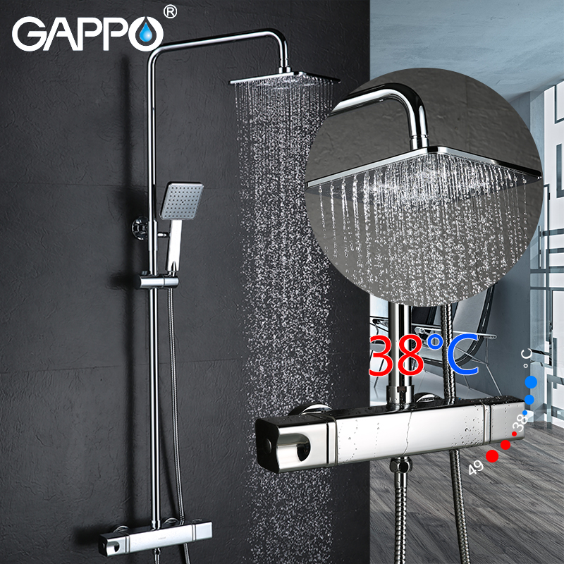 GAPPO Bathtub faucet bathroom mixer shower tap bath shower head taps rainfall shower set waterfall thermostatic shower faucets цена и фото