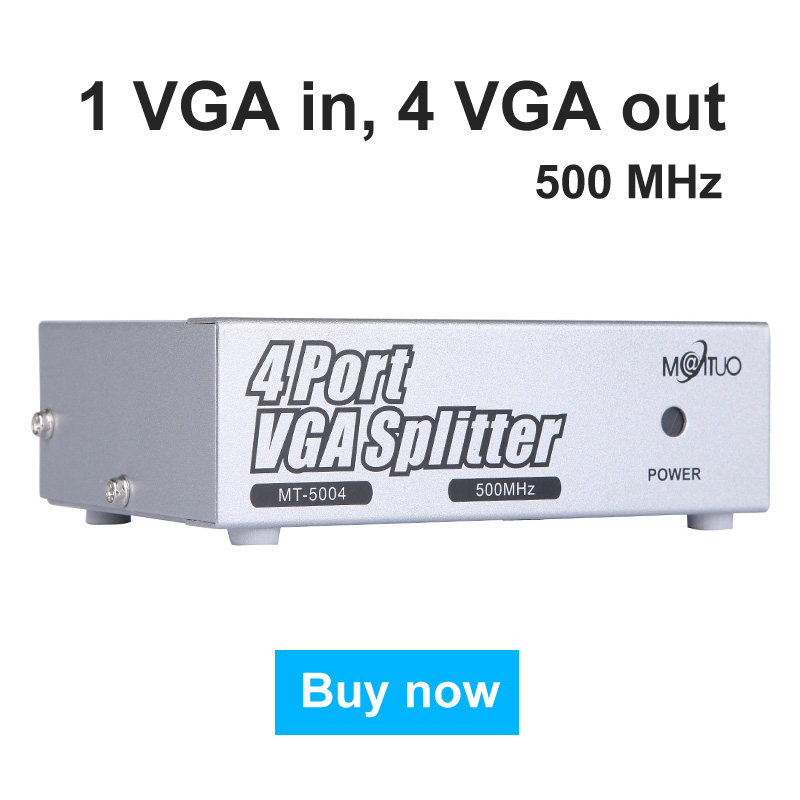 500MHz VGA Splitter Distributor 1 in 4 Out High Resolution 2048*1536 Support big Widescreen LCD Monitors Projector MT-VIKI 5004 16 port dvi splitter 1 input 16 output distributor duplicator 1 computer connects 16 monitors 1080p edid mt viki maituo dv16h