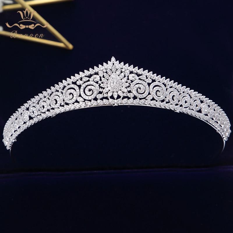 Europejski proste musujące pełne cyrkon ślubne tiary korony posrebrzane kryształowe opaski ślubne dla panny młodej druhna biżuteria w Biżuteria do włosów od Biżuteria i akcesoria na  Grupa 1