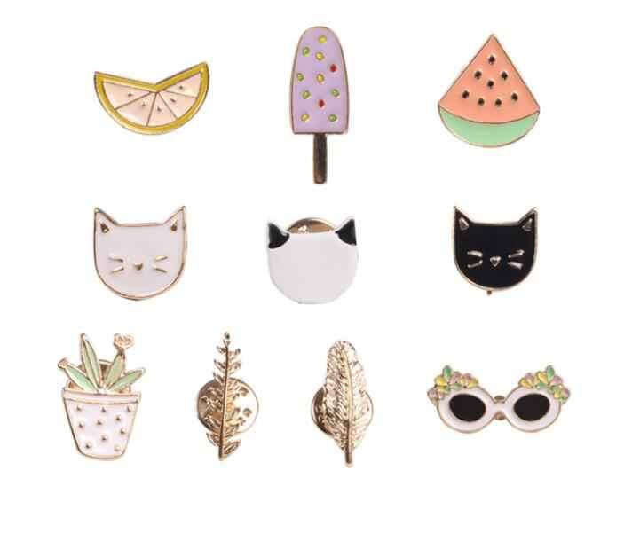 Jisensp Hitam Putih Kucing Anak Kucing Wajah Bros untuk Wanita Anak Perempuan Pin Jaket Sweater Lencana Lemon Daun Kacamata Hitam Logam Bros