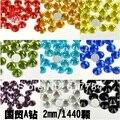 1480 unidades/pacote SS6 2mm Alto Brilho De Cristal 12 Cores Diferentes Nail Art Pedrinhas diamante de alta qualidade Diamante Bruto prego