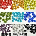 1480pcs/pack SS6  2mm High Shine Crystal  12 Different Colors Nail Art Rhinestones diamond high quality Gross Diamond nail