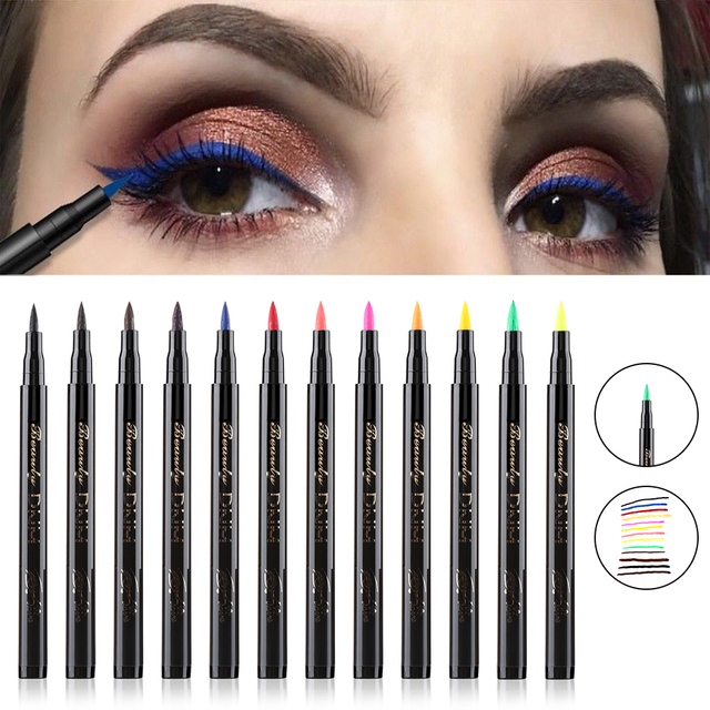 1PC Colorful Liquid Eyeliner Pencils Fast Dry Long Lasting Waterproof Thin Head Eye Liner Pen Makeup Tools Black/Blue/Red/Brown
