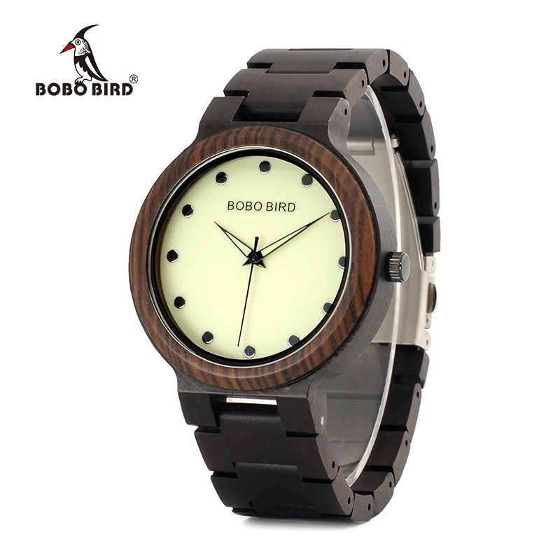 BOBO BIRD New Design Luminous Hands Dial Face Wooden Band Watches L Handmade Quartz Wrist Wristwatches Relogio Masculino P04
