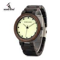 BOBO BIRD ออกแบบใหม่ส่องสว่าง Dial หน้าไม้นาฬิกา l ทำด้วยมือนาฬิกาข้อมือควอตซ์นาฬิกาข้อมือ relogio masculino P04
