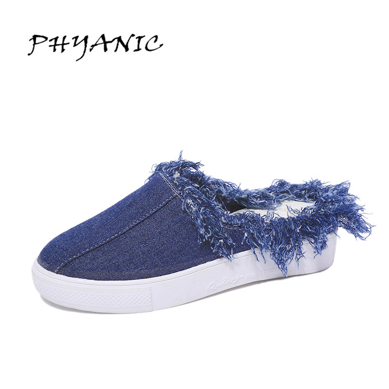 PHYANIC Summer Denim Loafers 2017 Backless Tassel Flats Platform Canvas Shoes Woman Casual Creepers Slip On Women Shoes PHY4903 phyanic summer style shoes woman 2017 new gladiator sandals platform flats fashion creepers women flat shoes 3 colors phy4044