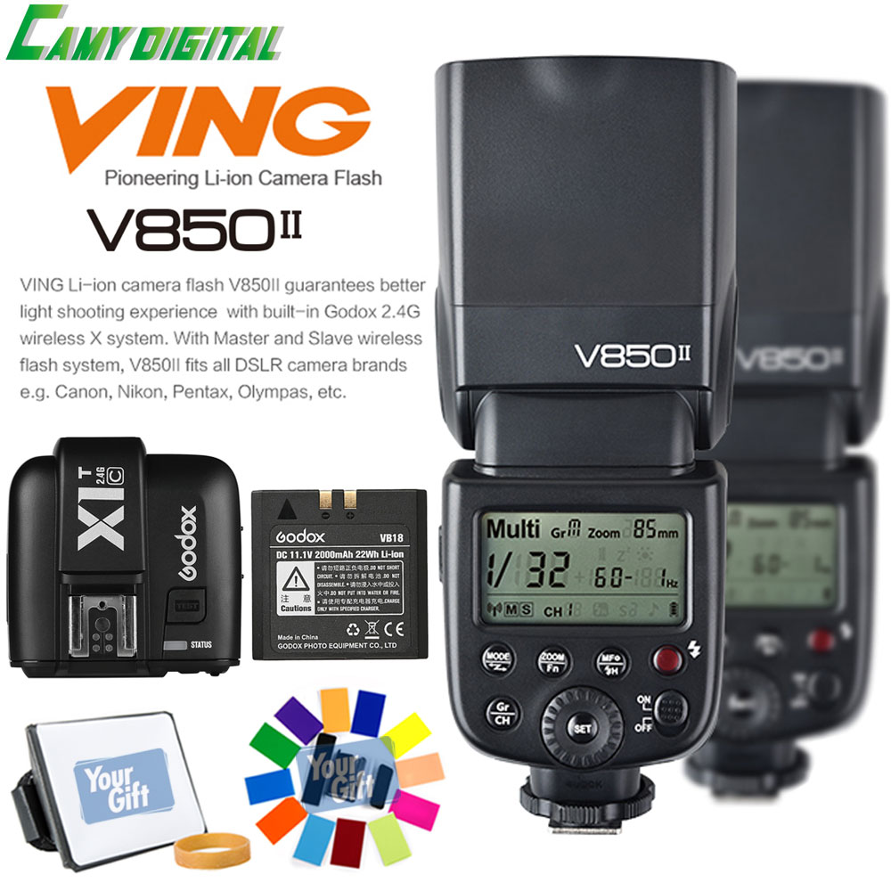 Godox V850II GN60 HSS 1/8000s 2.4G Wireless X System With battery 2PCS*Speedlite+X1T-C/X1T-N/X1T-S+Gift Kit For Canon/Nikon/Sony silence anti snoring