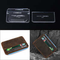 1set DIY Acrylic Leather Template Home Handwork Leathercraft Sewing Pattern Tools Accessory Card package wallet 7*10*0.5cm