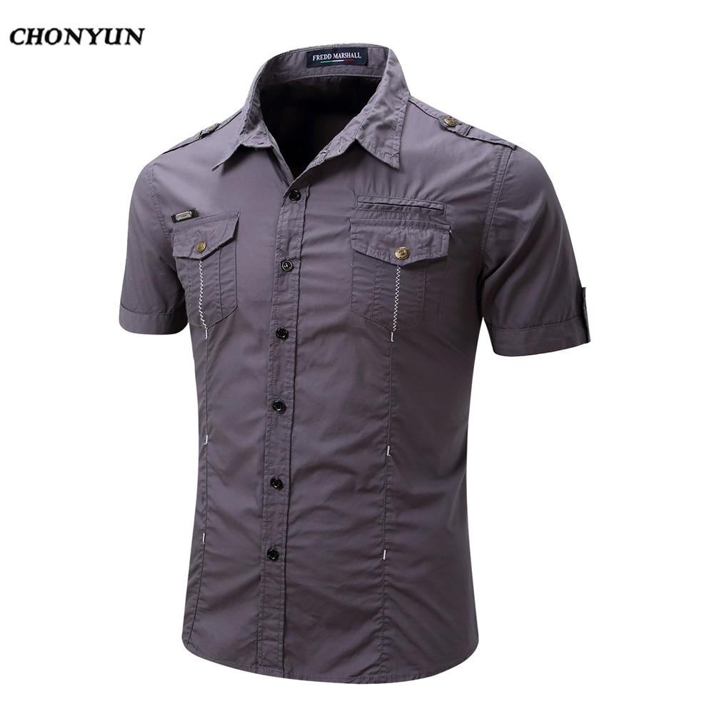 80cc6a15e685 2019 брендовая мужская рубашка Весна Бизнес Slim Fit Одежда мужская с  короткими рукавами Повседневные рубашки однотонные