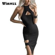 Wimuzz Sexy Halter-kleid Bodycon Frauen Club Schwarz Vestidos Asymmetrischem Saum Sommer Backless Kleider