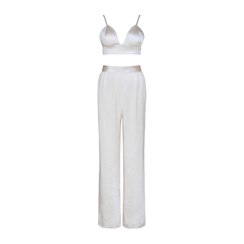 Gosexy 2019 Новый женский комплект из трех предметов сексуальный короткий топ с бретельками длинные штаны с v-образным вырезом длинное пальто с поясом женские модные костюмы