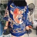 2016 women's summer new personality printing tether cherry red carp Japanese kimono cardigan coat female