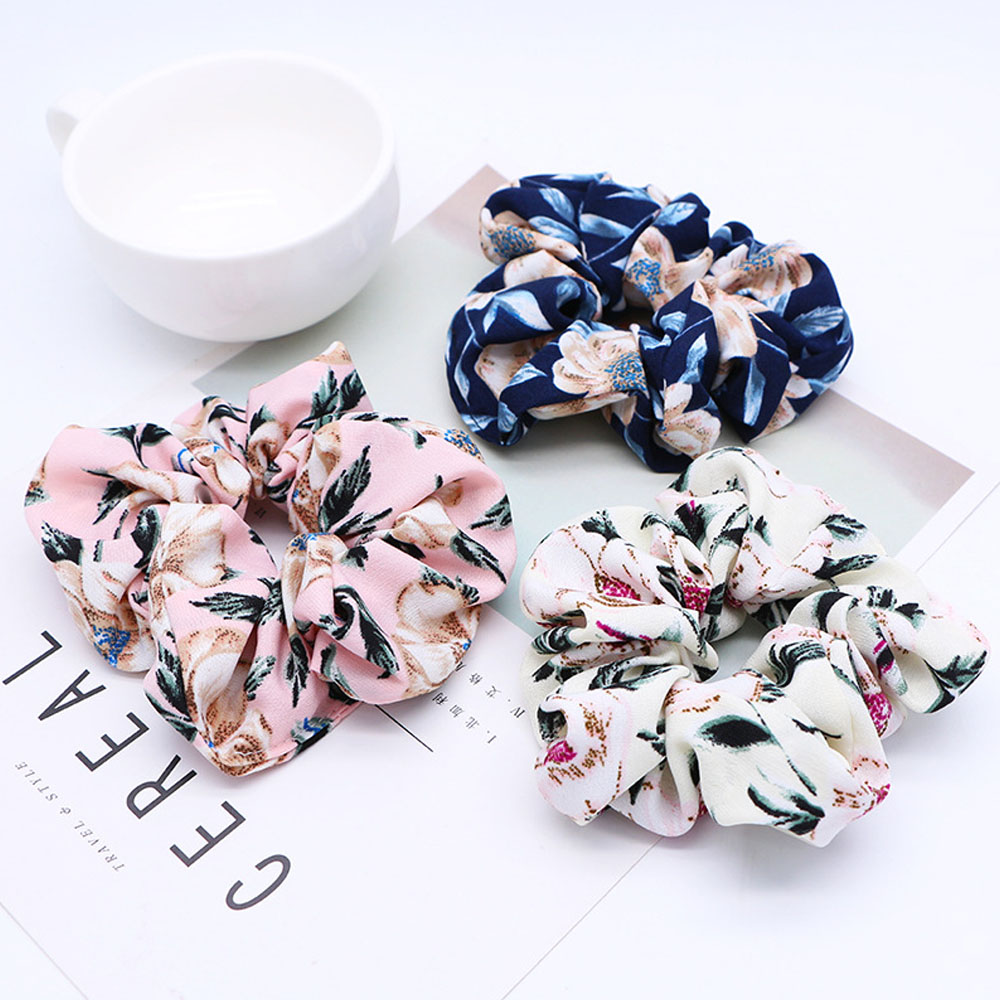 New Fashion Women Rubber Elastic Hair Bands Summer Print Floral Rope Scrunchie Ponytail   Headwear   For Women Girl Hair Accessories