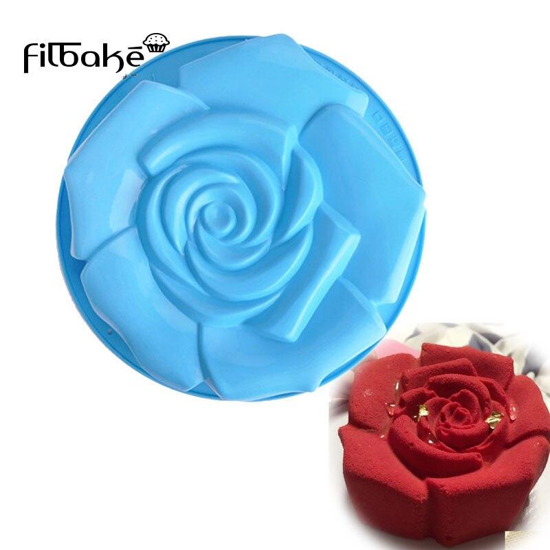 Round Big Roses Shaped Silicone Cake Mold Baking Pans Bakeware Decorating Non-Stick