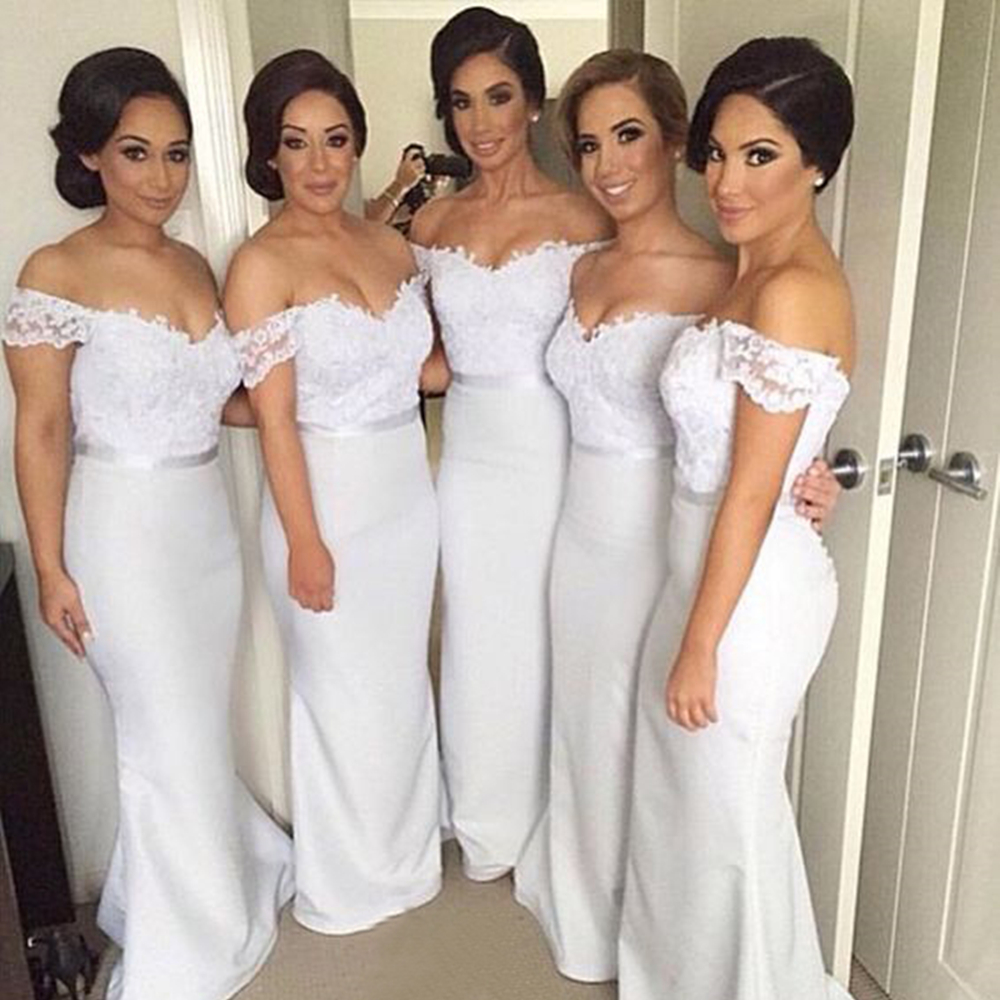 High Quality White Mermaid   Bridesmaid     Dresses   Boat Neck Off The Shoulder Appliques Elastic Satin Long Party Gowns Cheap