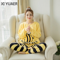 XI YUAER 2017Autumn Winter Women Pyjamas Sets pajamas Sleepwear Suit Thick Warm Flannel nightgown Female lovely bee Pijama Mujer