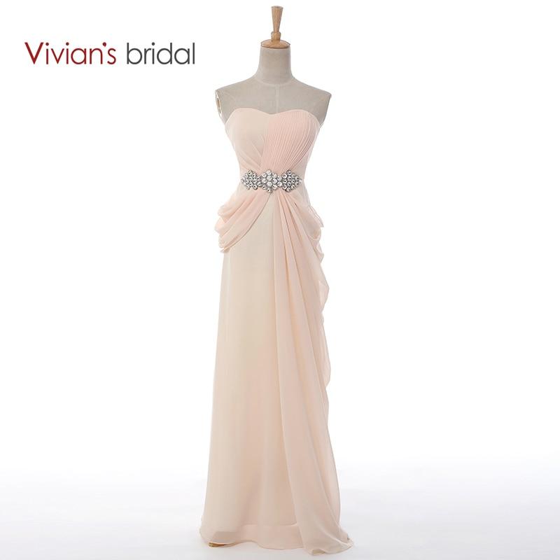 Vivian's Bridal Sexy Strapless A-Line Beading Crystal Long Evening Dresses Summer Style Chiffon vestido de festa Hot Sale 8001