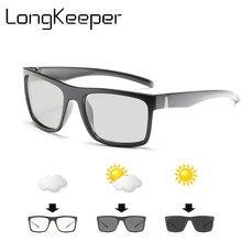 Óculos de Sol Polarizados Fotocromáticas Homens UV400 Anti-Reflexo Marca  Camaleão do Retângulo Óculos de Sol Óculos de Condução . fd9de3d594
