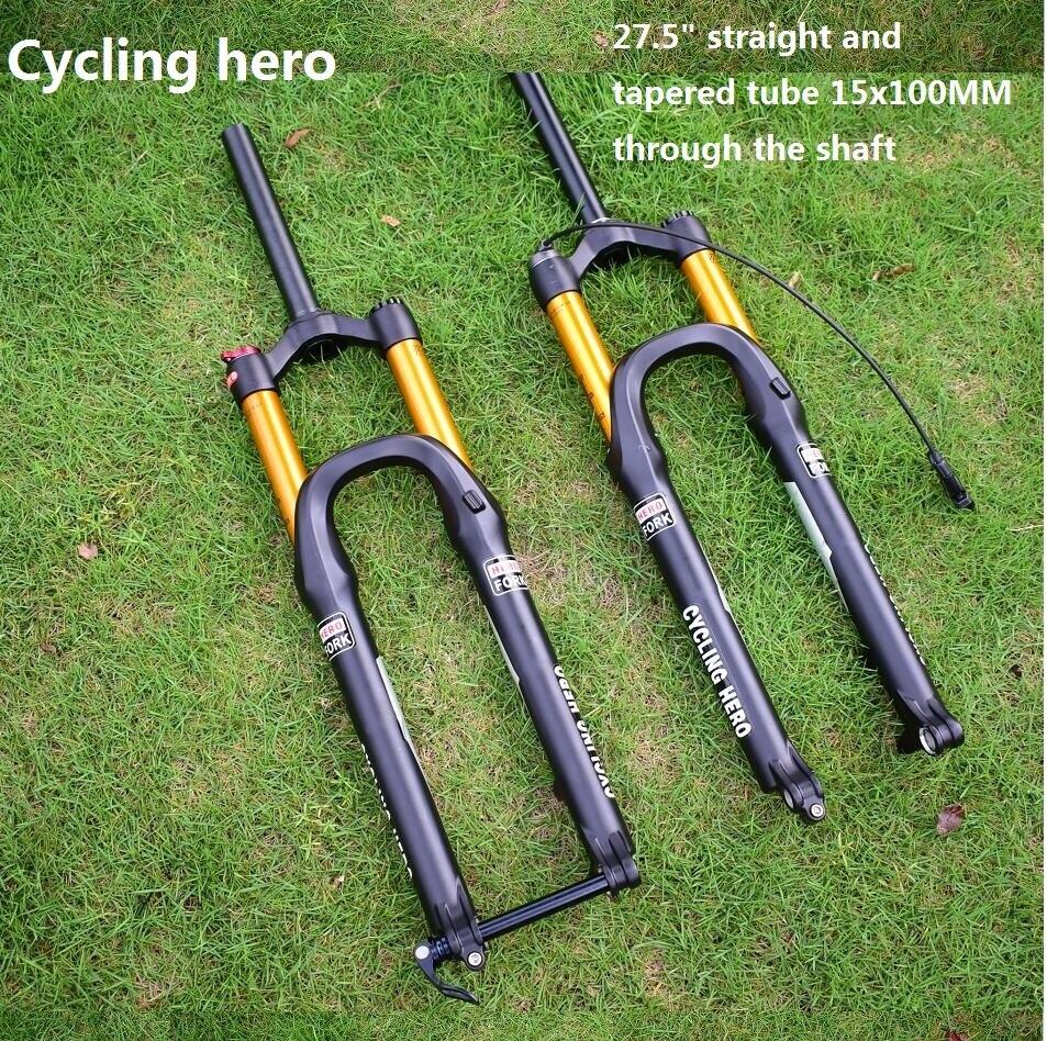 MTB Bicicletta Dritto e Tubo Cono 15x100mm Passando Albero Forcella Aria Sospensione Spina 27.5