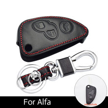 Car Key Case Leather Chain Folding Luggage Bag Accessories for Alfa Romeo 147 156 166 GT JTD TS Remote Shell Carriers