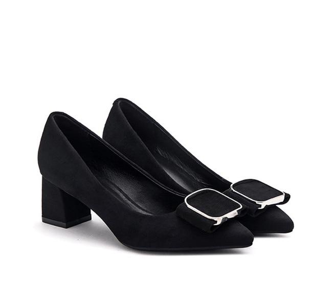 Haute Carré Dame Boucle Bureau Nouvelle Talon Bout 5 2018 Cm Noir Chaussures Pompes De Pointu Femmes wZ5I1Wqx