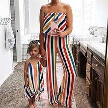 Trajes a juego para la familia, ropa de madre e hija a rayas, mono largo con volantes y hombros descubiertos, moda para niñas
