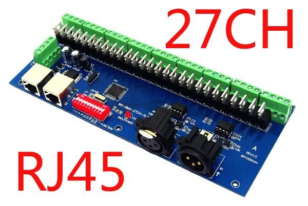 27 kanálový DMX512 RGB ovladač 9skupin RGB 27CH DMX512 dekodér DC12-24V vstup