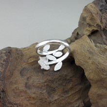 Women Rings Olive Leaf Wreath 999 Sterling Silver Handmade Ethnic Jewelry Adjustable Unisex Men Ring Peace Sign Silver Ring цена и фото