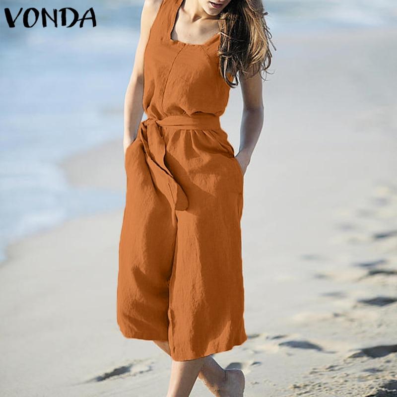 VONDA Rompers Womens Jumpsuit Summer Cotton Vintage Sleeveless Belt Wide Leg Pants Playsuit Casual LooseOveralls Plus Size 1