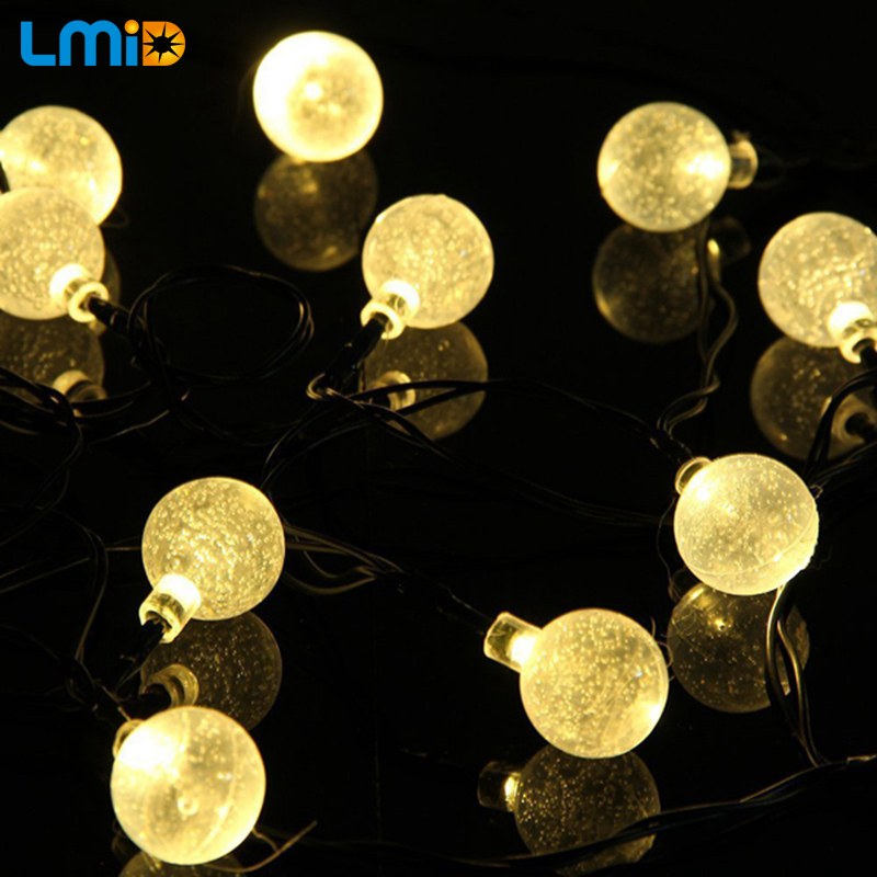 LMID Solar Lampor Crystal Ball Vattentät Färgrik Fairy Utomhus Solar Light Garden Julfest Decoration String Lights