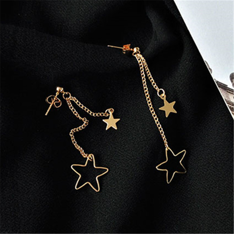 Fine jewelry woman stud earring lovely fashion stars long earrings Young girl stud earrings Simple metal golden star earrings