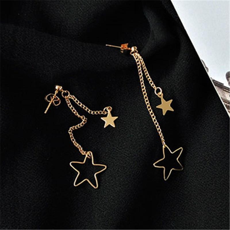 Fine Jewelry Woman Stud Earring Lovely Fashion Stars Long Earrings Young Girl Stud Earrings Simple Metal Golden Star Earrings