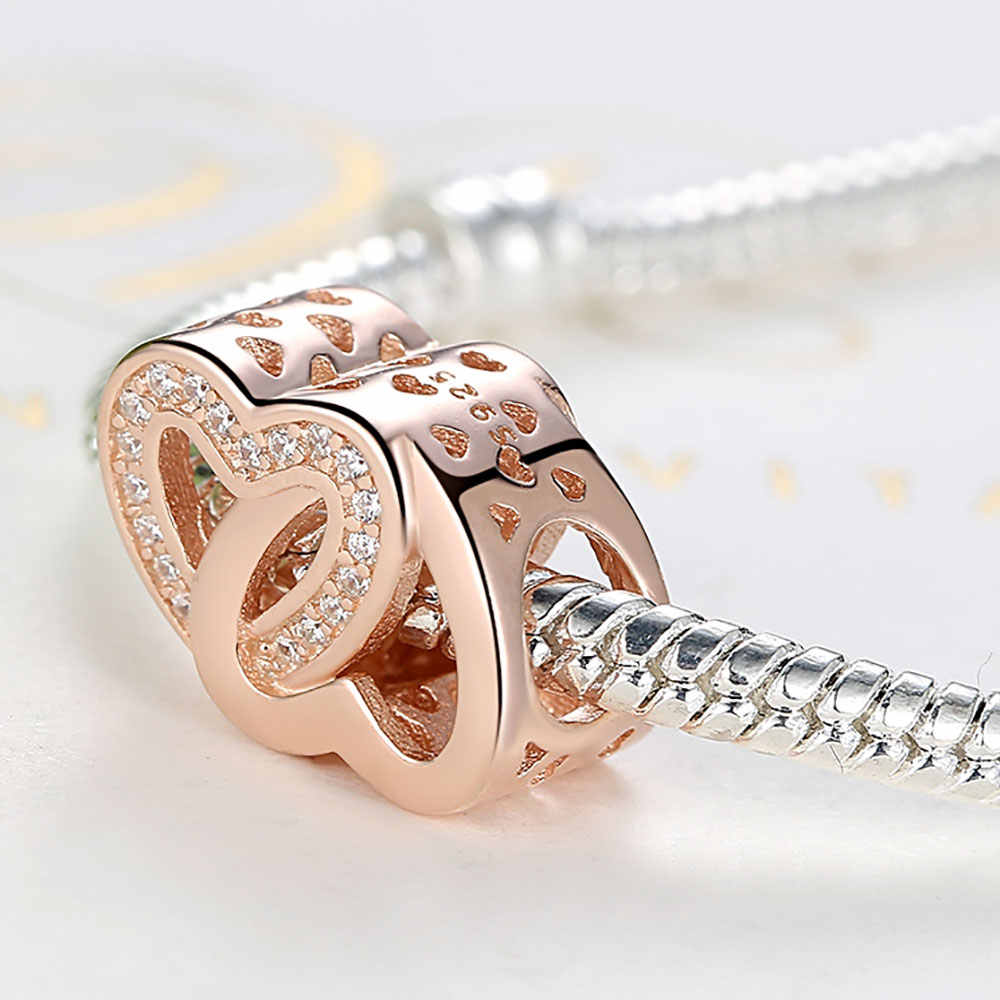 48be1dc92 ... Authentic 925 Sterling Silver Charm fit Pandora Rose Gold Bead  Bracelets Heart Beloved Mother Crystal Pendant ...