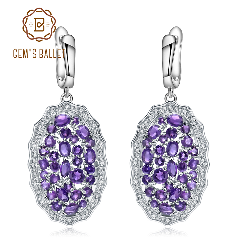 GEM S BALLET 9 49Ct Natural Amethyst Vintage Earrings 925 Sterling Silver Gemstone Drop Earrings for