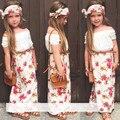 2016 verão meninas roupas set t shirt + dress + cachecol 3 pçs/set floral gola de renda terno roupas infantis Headband da flor