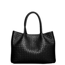 Lujo Simple Tejido Extraíble de Gran Capacidad de Las Mujeres Bolsos de Diseño de Alta Calidad de Cuero Genuino Compuesto Bolso de Mano Tejido