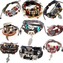Ретро веревка кожаные мужские браслеты кожа веревка ручной браслет для мужчин веревки плетеные браслет мужской женский браслет Ювелирные Изделия zc