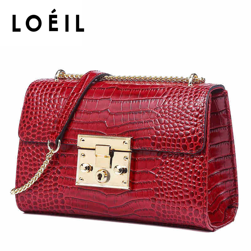 цены LOEIL Leather handbag 2018 new Messenger bag red fashion shoulder bag female chain bag crocodile pattern small square bag