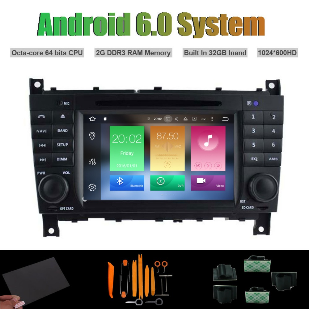 Android 6 0 Octa core CAR DVD PLAYER for MERCEDES BENZ C CLASS CLC W203 G
