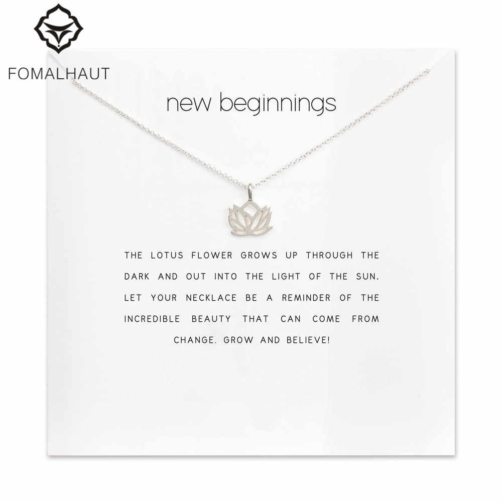new beginnings lotus Pendant necklace Clavicle Chains Statement Necklace Women FOMALHAUT Jewelry F-2