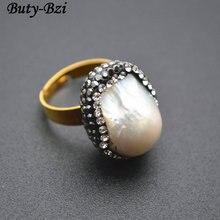 Естественный белый барокко, жемчужные кольца, Кристальные стеклянные бусины, модные вечерние ювелирные изделия, подарок