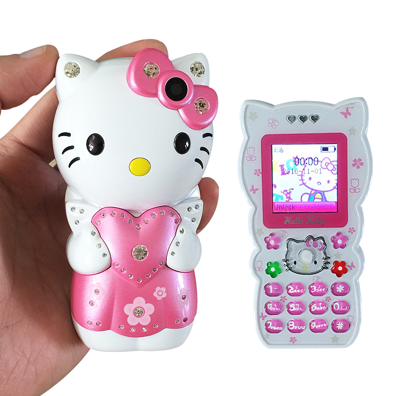 KUH K689 Bar mobile power unlocked small cartoon Dual SIM hellokitty women kids girls lady cute