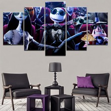 Wall Art Movie Poster Canvas Print 5 Pieces The Nightmare Before Christmas Painting Modern Home Decor Modular Picture Framework
