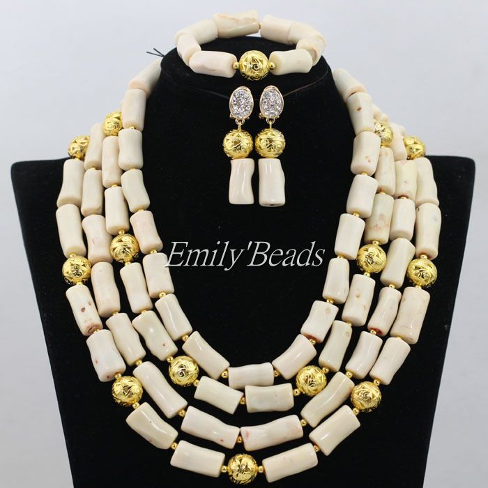 2016 Stylish Cream White African Coral Beads Necklace Set Indian Bridal Necklace Jewelry Set 2016 Latest Free Shipping CJ498