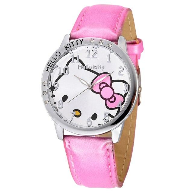 2b6d0c841 2018 Hello Kitty Girls Children New Watch Cartoon Cute Hour Quartz Watch PU  Leather Women Dress Kids Wrist Watches Reloj Mujer