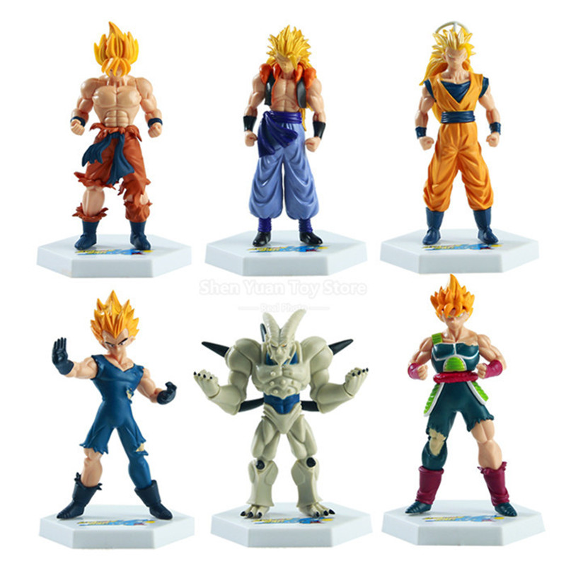 6pcs/lot Dragon Ball Z Action Figures Super Saiyan/Son Goku/Gohan/Gotenks PVC Model Japanese Anime Figure Dragonball Z Toy 12cm 16cm anime dragon ball z goku action figure son gokou shfiguarts super saiyan god resurrection f model doll