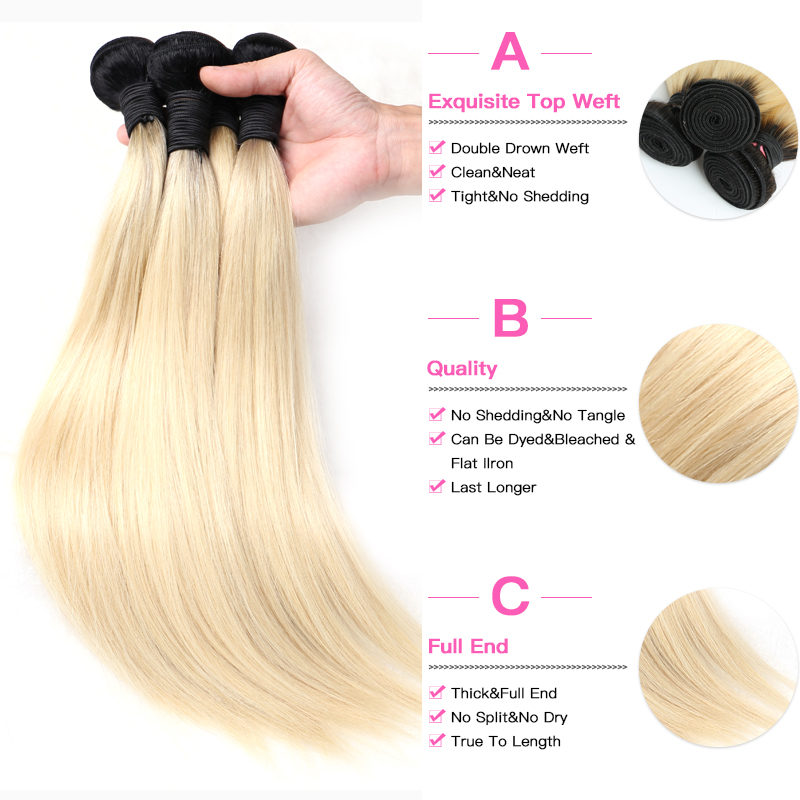 Facebeauty 1B 613 Honey Blonde Brazilian Straight Remy Human Hair 3 Bundles with Lace Closure Blonde Facebeauty 1B/613 Honey Blonde Brazilian Straight Remy Human Hair 3 Bundles with Lace Closure,Blonde Ombre Bundles with Closure