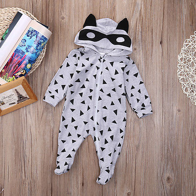 Newborn Baby Boy Girl Romper Jumpsuit Hooded Hoodies Geo Printed Boy Infant Clothes 2016 Pajamas Crawl
