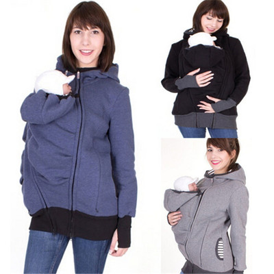 2017 Winter Clothes For Pregnant Women Kangaroo Hoodies Sweatshirt Baby Carrier Jacket Multifunctional father Coat Outerwear